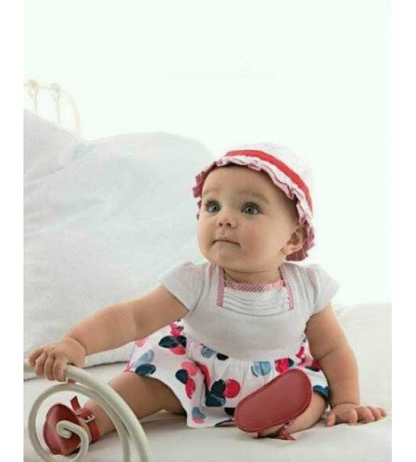 Dress anak I Cool Baby white dan topi