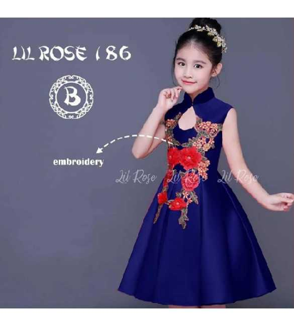 Dress Anak Lil Rose 186 B Bordir bunga Navy Blue (MED SIZE)