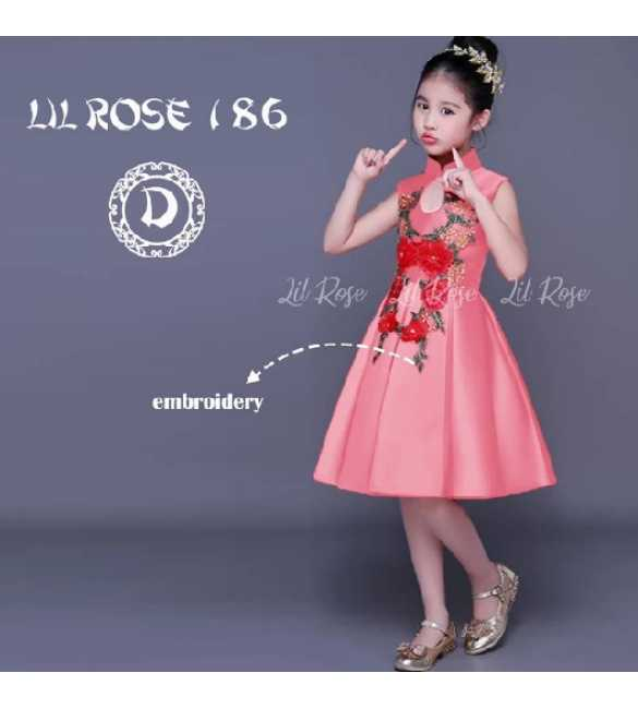 Dress Anak Lil Rose 186 D Bordir bunga Pink (MED SIZE)