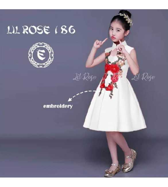 Dress Anak Lil Rose 186 E Bordir bunga Putih (MED SIZE)