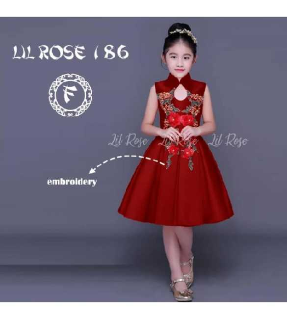 Dress Anak Lil Rose 186 F Bordir bunga Maroon (MED SIZE)