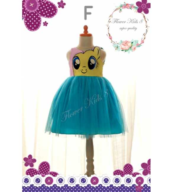 Dress Flower Kids Pony Blue