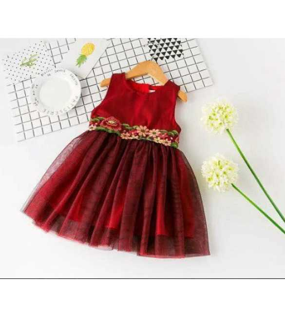 Dress Korea Flower Maroon