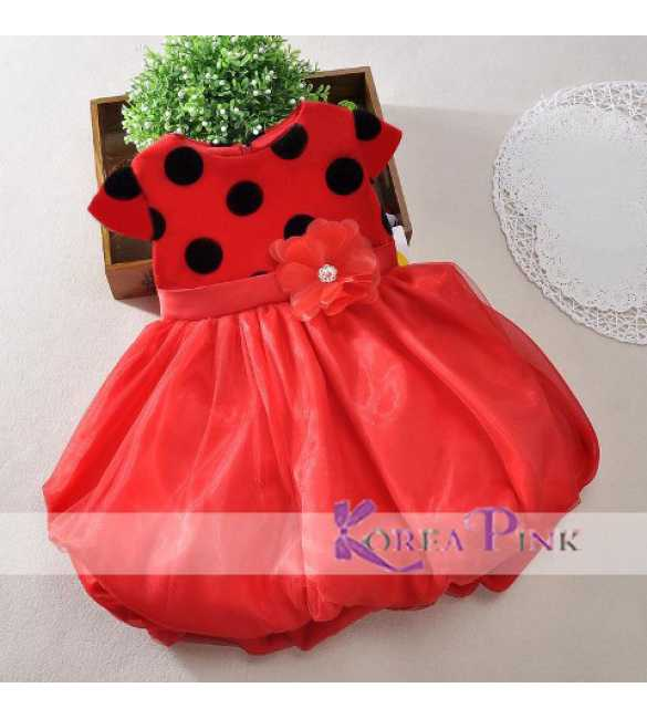 Dress Korea Pink Polkadot Red