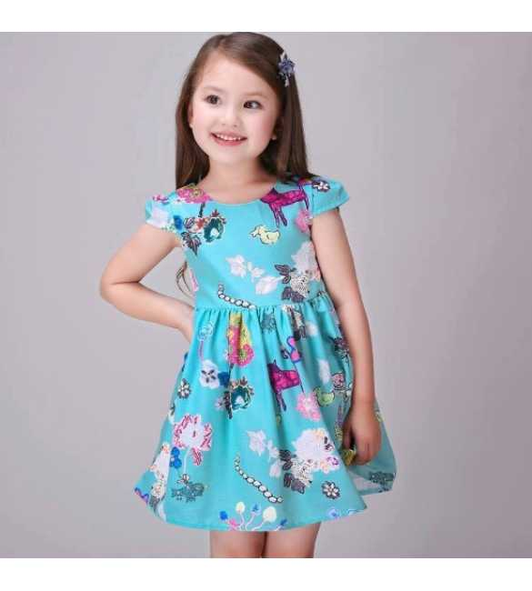 Dress Korea Printing Blue