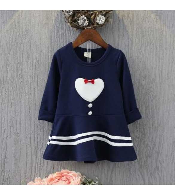 Dress Midi Love Ribbon Navy Blue