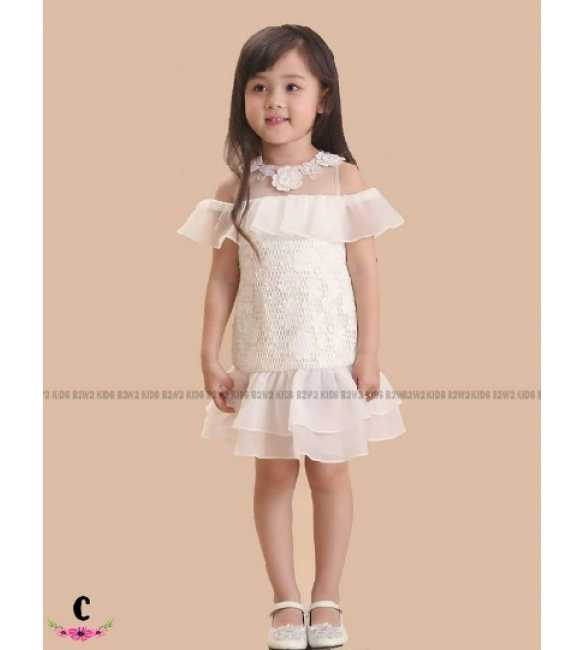 Dress Pesta Anak B2W2 Allover Lace White