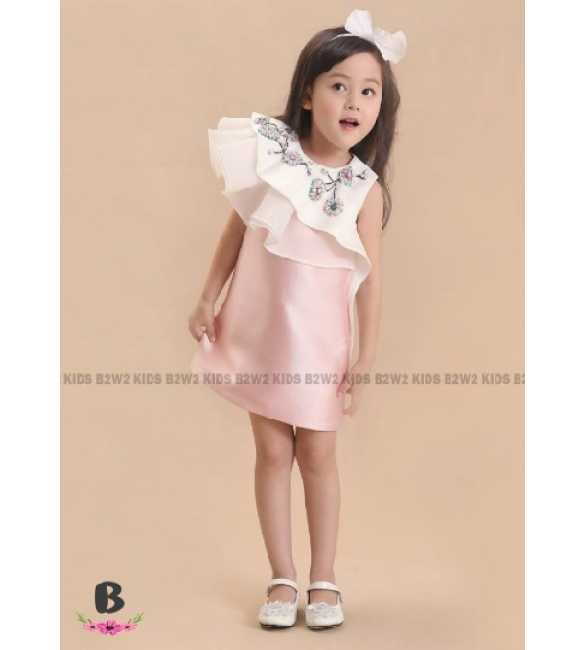 Dress Pesta Anak B2W2 Bunga Satin Pink