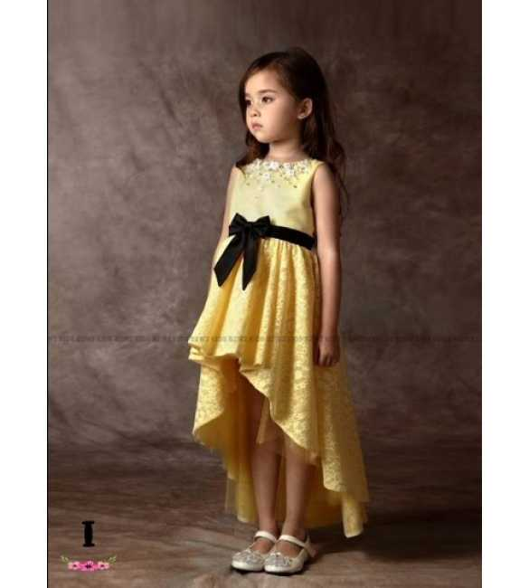 Dress Pesta Anak B2W2 Ribbon Long Tail Yellow