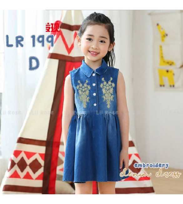 Dress anak perempuan Lil Rose 199 D Denim Bordir bunga (BIG SIZE)