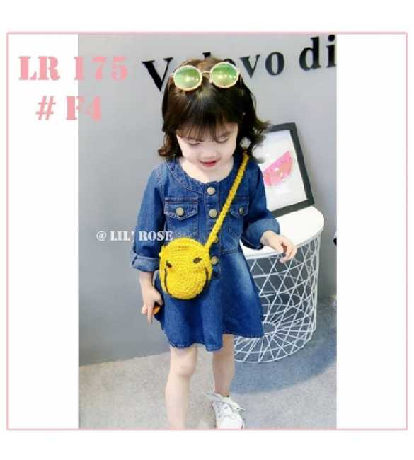 Dress anak perempuan Lil Rose LR 175 Jeans navy (BIG SIZE)