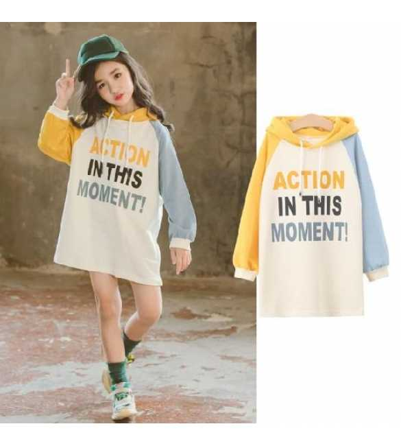 Dress hoodie anak action yellow