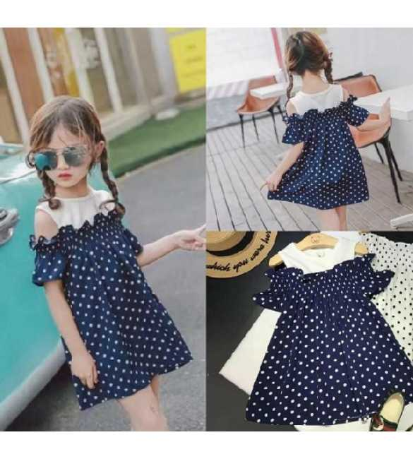 Dress sabrina polkadot navy blue