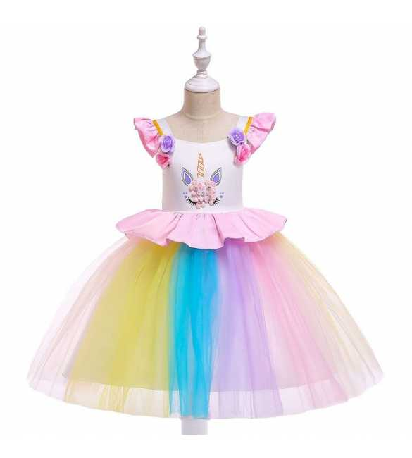 Dress tutu anak perempuan B2W2 Unicorn rainbow