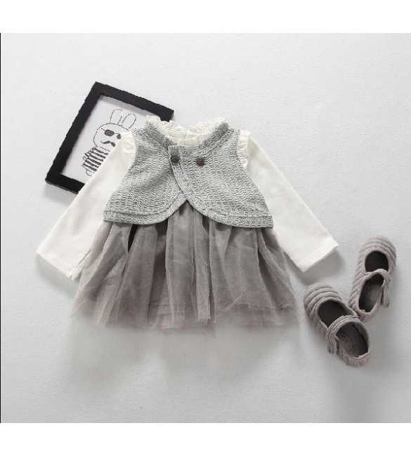 Dress tutu anak rompi rajut import