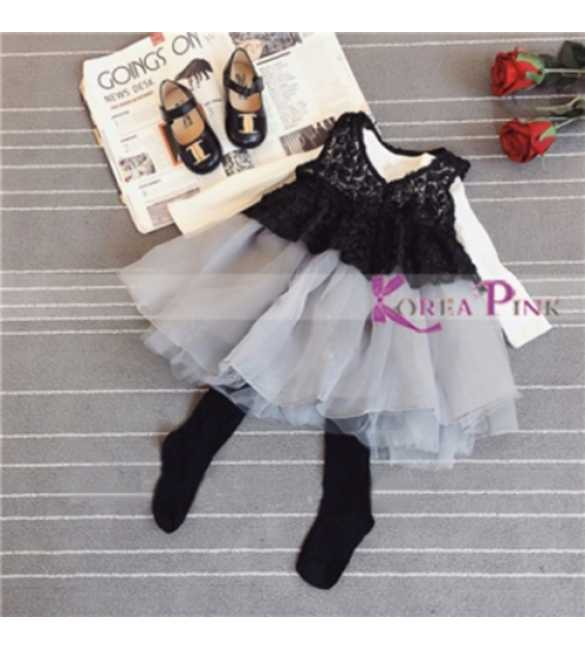 Korea Pink set dress tutu with top black