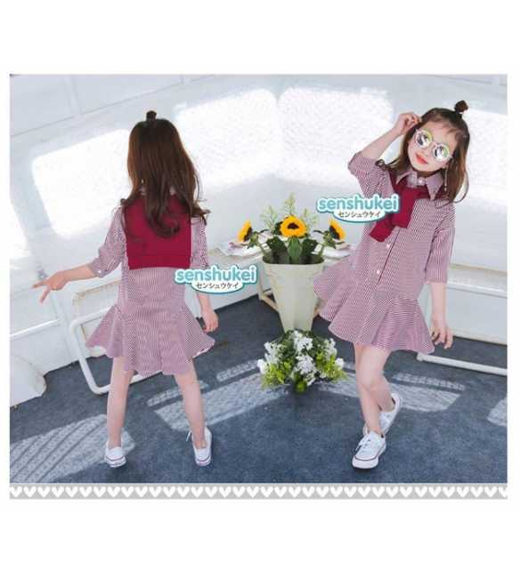 Sens 25 K Dress anak cardigan stripe red (MED SIZE)