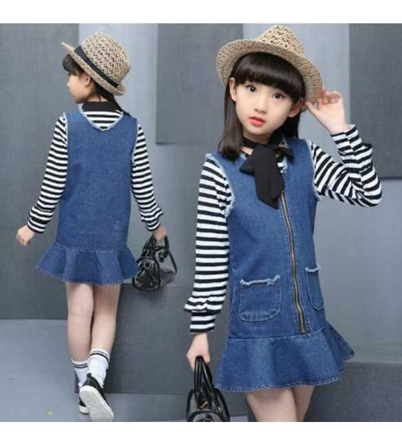 Set Dress Jeans Stripe Shirt