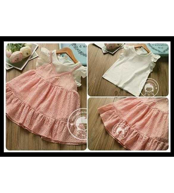 Set Dress Lace Pink