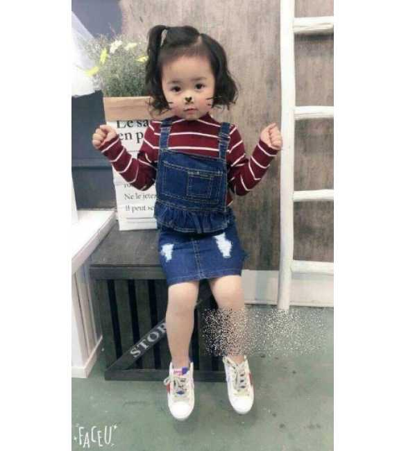 Set Dress Overall Jeans Stripe Red