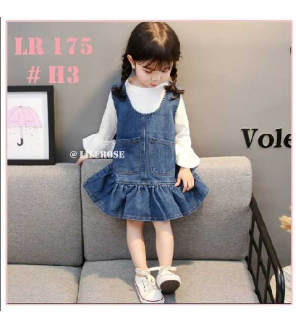 Set Dress Overall Lil Rose 175 White (MED SIZE)