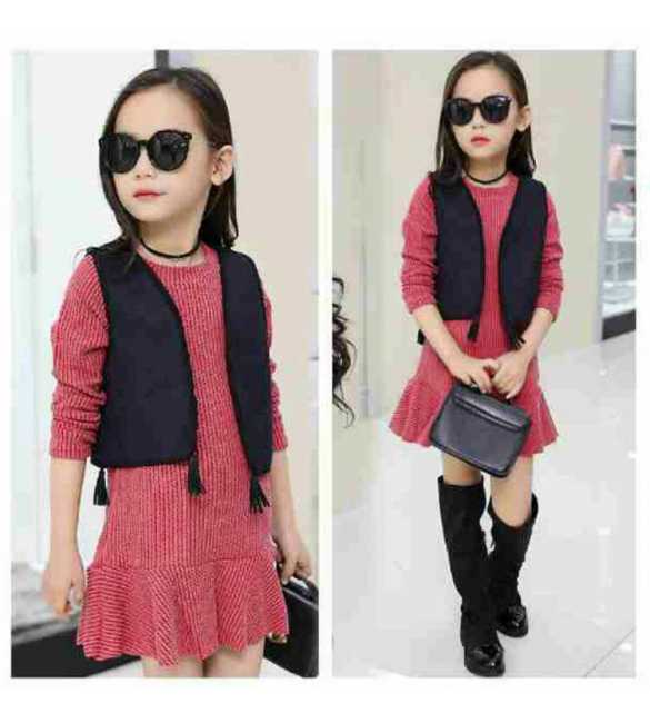 Set Dress cordoray with vest Pink
