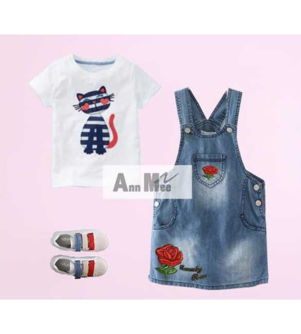 Set Girl Ann Mee Dress Overall Cat (MED SIZE)