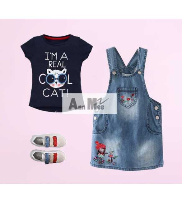 Set Girl Ann Mee Dress Overall Cool Cat (MED SIZE)