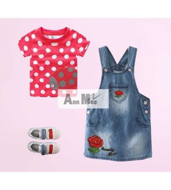 Set Girl Ann Mee Dress Overall Ladybug (MED SIZE)