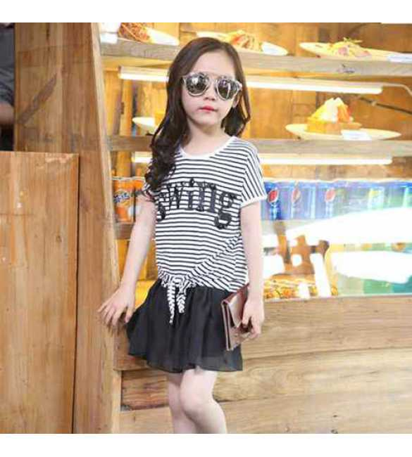 Set Girl Swing Stripe SKirt Black