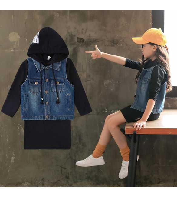 Set dress anak hoodie black dan vest jeans
