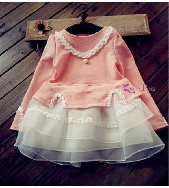 Setelan Korea Pink Lace plus kalung (2 warna)