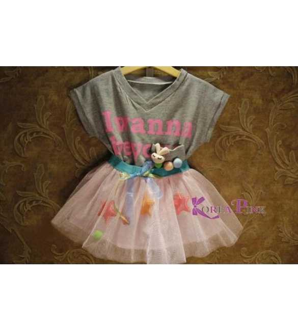 Setelan Tutu Korea Pink I Wanna