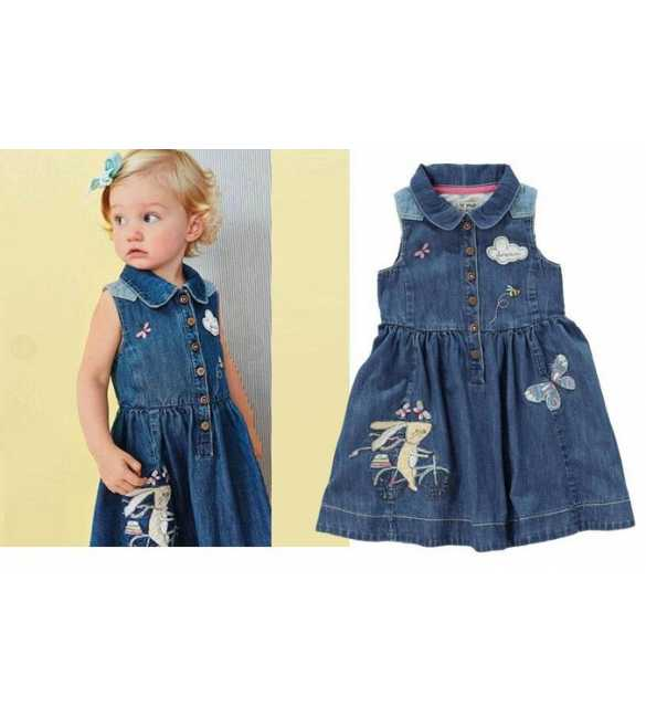 Dress anak denim butterfly