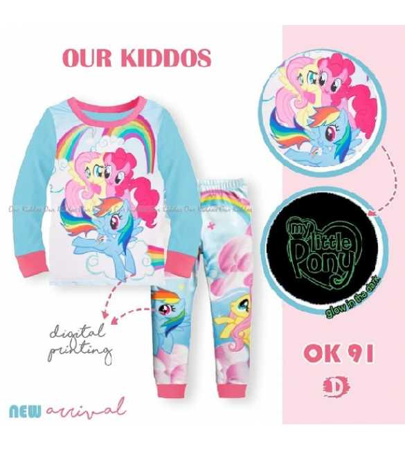 Piyama anak Perempuan Our Kiddos OK 91 D Rainbow Little Pony