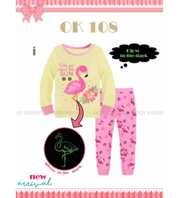 Piyama anak perempuan Our Kiddos OK 108 I Flamingo (BIG SIZE)