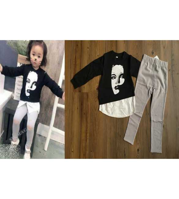 Set Girl Long Sleeve Ripped Legging