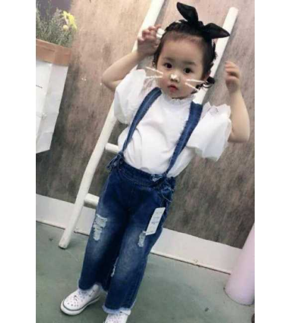 Girl Set Overall Blouse White