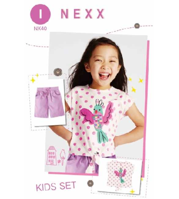 Girlset Casual Nexx Kids 40 I Bird Polkadot Purple