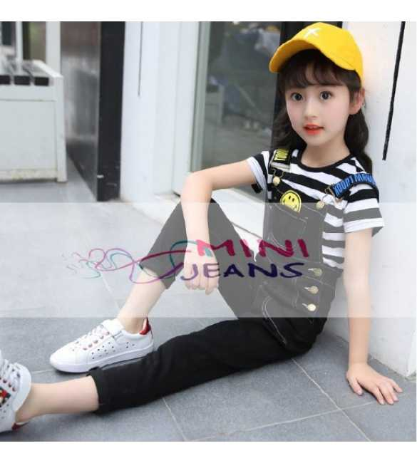 Mini Jeans Set Overall Smile Stripe Black