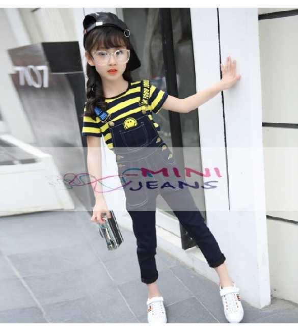 Mini Jeans Set Overall Smile Stripe Yellow