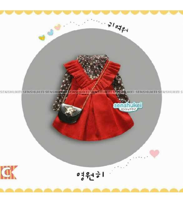 Senshukei 24 C Set Dress Anak Alice Floral Red (Med Size)