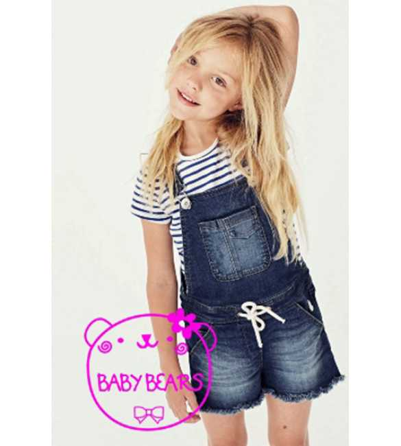 Set Baby Bears Overall Stripe Shirt