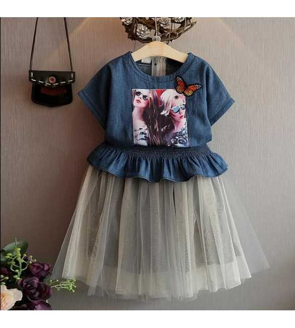 Set Dress Korea Tutu Denim