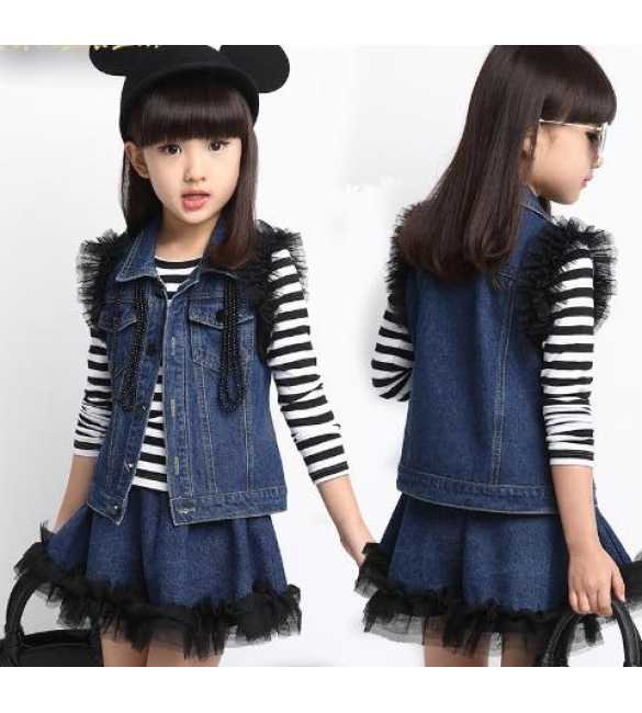 Set Girl 3in1 Rompi Jeans
