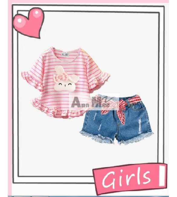 Set Girl Ann Mee Bunny Stripe Pink (MED SIZE)