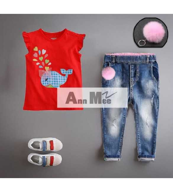 Set Girl Ann Mee Shirt Red Whale (MED SIZE)