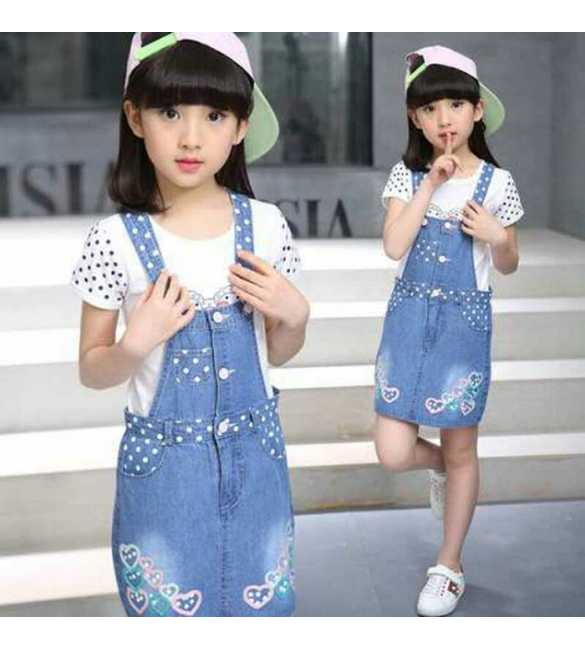 Set Girl Dress Overall Jeans Love Polkadot