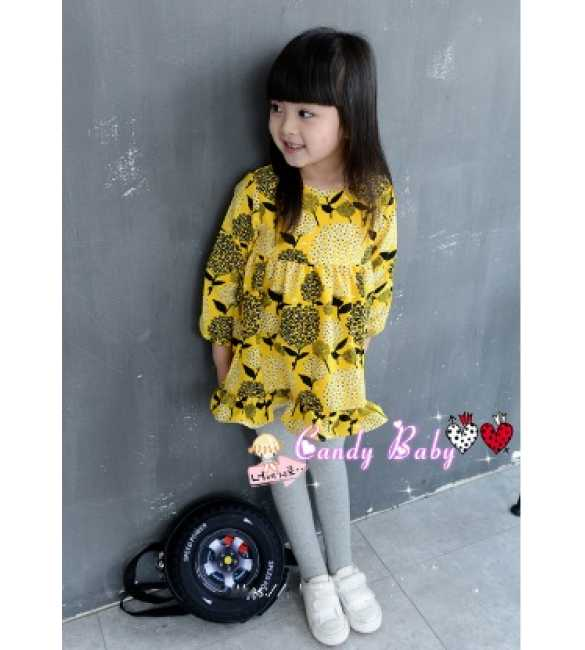 Set Girl Dress Printing Yellow and Legging