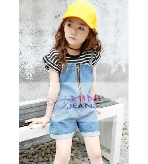 Set Girl Mini Jeans Overall Stripe Hitam